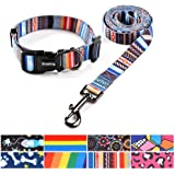 Ihoming Dog Collar and Leash Set Combo Safety Set for Daily Outdoor Walking Running Training Small Medium Large Dogs Cats