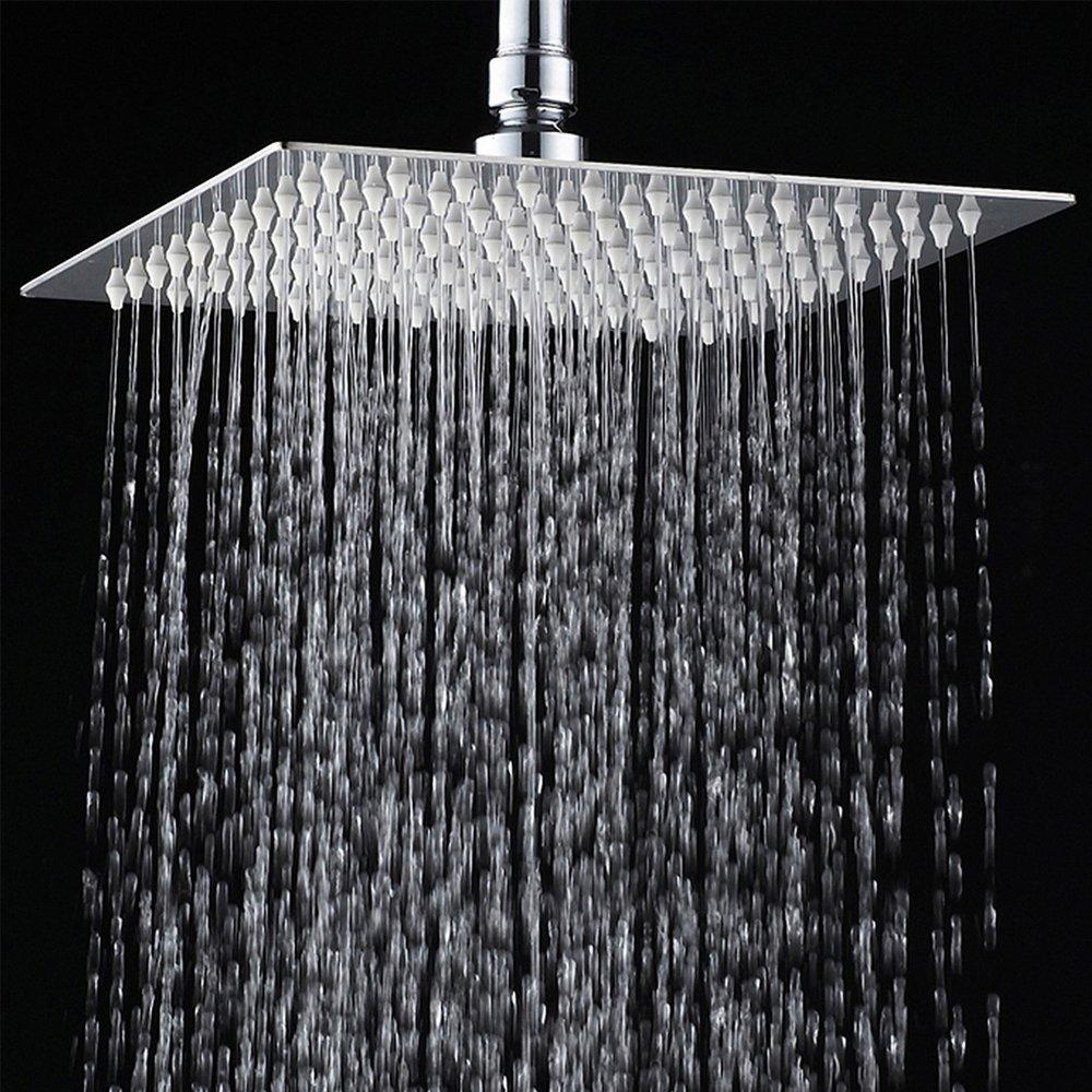 12 Inch Luxury Rainfall Square Shower Head Ultra-thin Stainless Steel Durable Showerhead Waterfall Effect Water Saving Chrome Finish