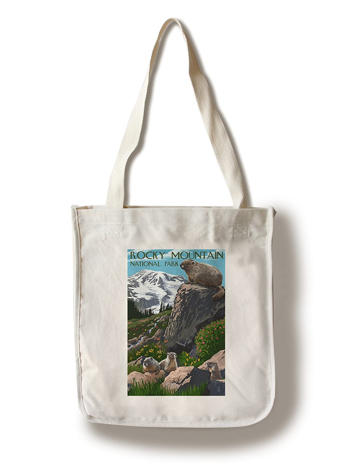 ロッキーマウンテン国立公園 – Marmots Canvas Tote Bag LANT-46098-TT B01841G1UE Canvas Tote Bag