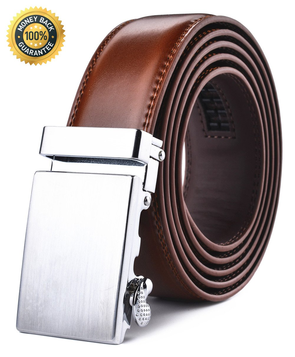 Men's Belt,XHT Automatic Slide Ratchet Belt for Men with Genuine Leather 1 3/8,Trim to Fit