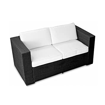 Loungemöbel outdoor schwarz  Amazon.de: (2er) Polyrattan Lounge Möbel Sofa schwarz ...