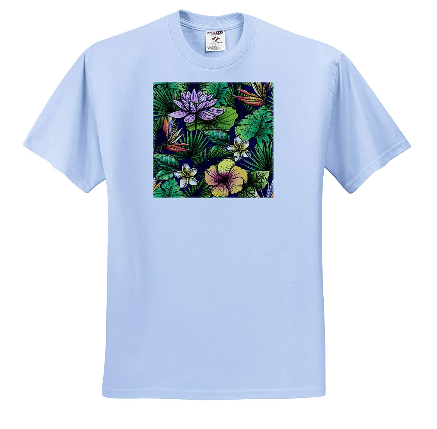 ts/_310973 Retro Vintage Graphic with Jungle and Flowers Adult T-Shirt XL 3dRose Sven Herkenrath Flower