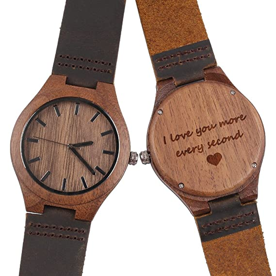 Amazon.com: Mens Wood Watch, Natural Wooden Watch with Brown Leather Strap Quartz Analog Casual Wood Watches - I Love You More Every Second - Anniversary ...