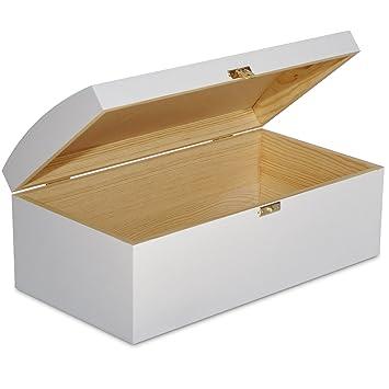 Creative Deco Blanco Cofre Caja Madera con Curvo Tapa | 34,5 x 18 x 13,8 cm | Decoracion Decorar Almacenaje Herramiente Fruta Decoupage Documentos Objetos ...