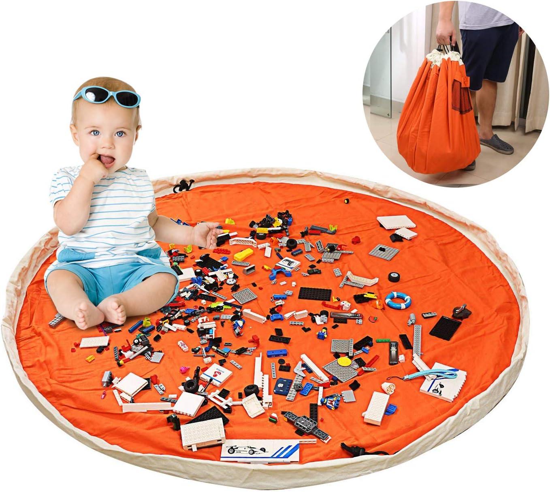 Coton Toile Tapis Organisateur de Jouets pour B/éb/é Enfant 150CM Grand Sac de Rangement de Jouets LEADSTAR 60 Pouces Orange