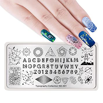 NICOLE DIARY Nail Stamping Plates Typography Alphabet Metal Templates Number Moon Space Rectangle Art