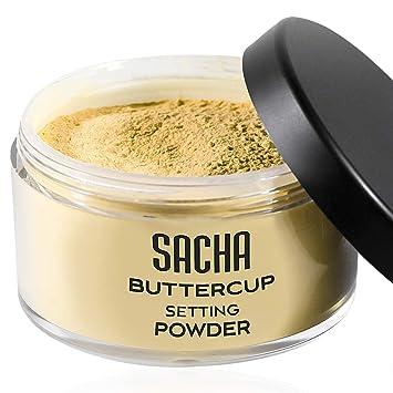 Sacha Cosmetics - Polvo Buttercup, Sin Reflejo Para las Fotos y Selfies Es Un Polvo Suelto Para los Tonos de Piel Morenos y Oscuros. 1,25 Oz.