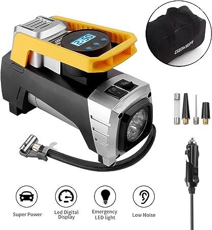 2000mAh LED Lampe Automatique Gonfleur /Électrique V/élo Voiture Pompe /à Pneus L/ége Bruit Faible Compresseur dair Portable Gonfleur Electrique 4YANG Mini Compresseur Portable avec Grand LCD /Écran