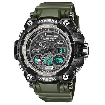 Reloj deportivo para hombre, multifuncional, militar, impermeable, diseño simple, números grandes, pantalla LED, bono de microfibra., verde, ...