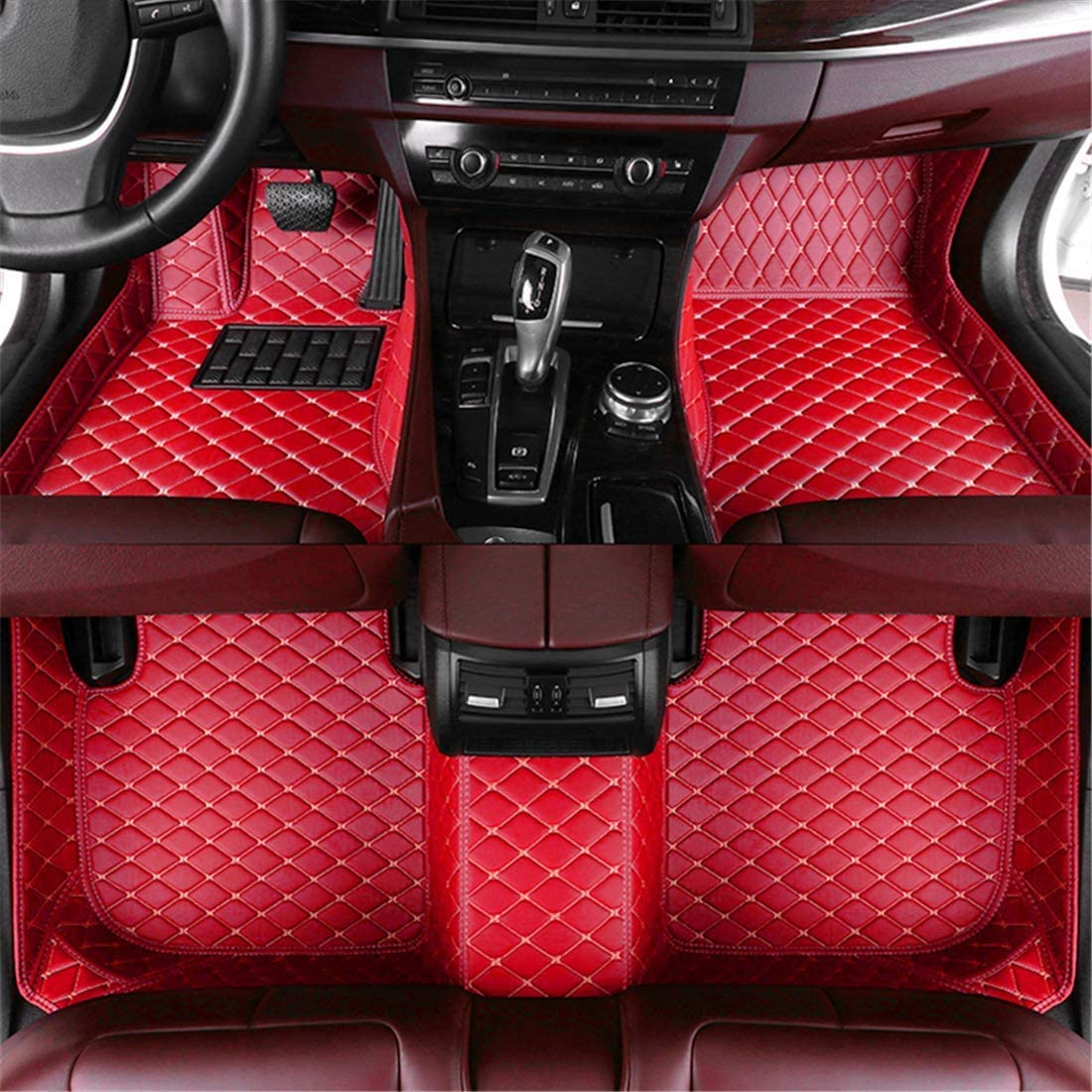 Muchkey car Floor Mats fit for Mustang 2015-2019(Three Circular air outlets in The Middle of The Center Console.) Full Coverage All Weather Protection Non-Slip Leather Floor Liners