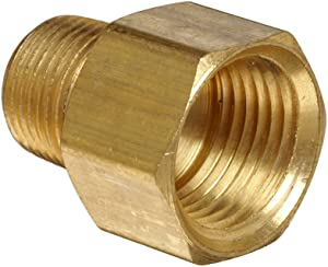 "Anderson Metals Brass Pipe Fitting, Adapter, 1/2"" Male Pipe x 3/4"" Female Pipe"