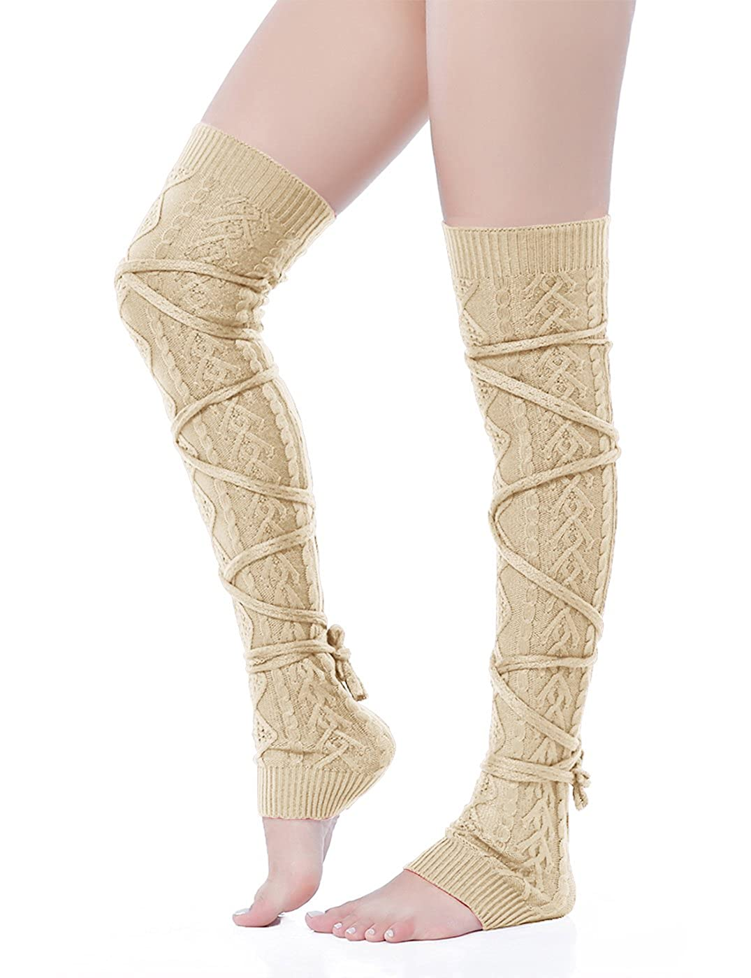 65d94c099264b V28 Women Over Knee Lace up Tie Cable Knit Ribbed Crochet Long Boot Leg  Warmers at Amazon Women's Clothing store: