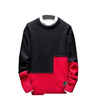 2588d28b8b8 Zimaes-Men Stitch Contrast Color Knitted Plus Size Pullover Sweater at  Amazon Men s Clothing store