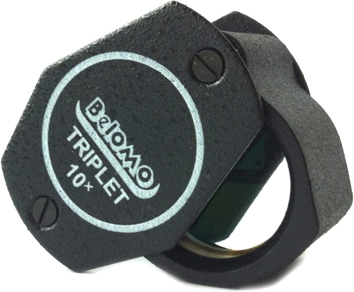 "BelOMO 10x Triplet. Jewelers Loupe Magnifier 21mm (.85""). Optical Glass with Anti-Reflection Coating for a Bright, Clear and Color Correct View. Foldable Loupe for Gems, Jewelry, Coins and Trichomes"