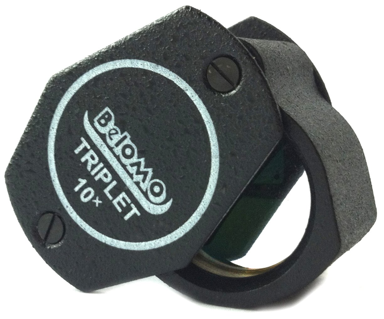 BelOMO 10x Triplet Jewelers Loupe Folding Magnifier 21mm (.85'') Optical Glass with Anti-Reflection Coating for a Bright, Clear and Color Correct View by BelOMO