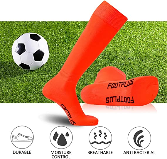 Soccer Socks 2-4 Pairs FOOTPLUS Unisex Over Knee High Solid Team Sports Volleyball Softball Baseball Socks
