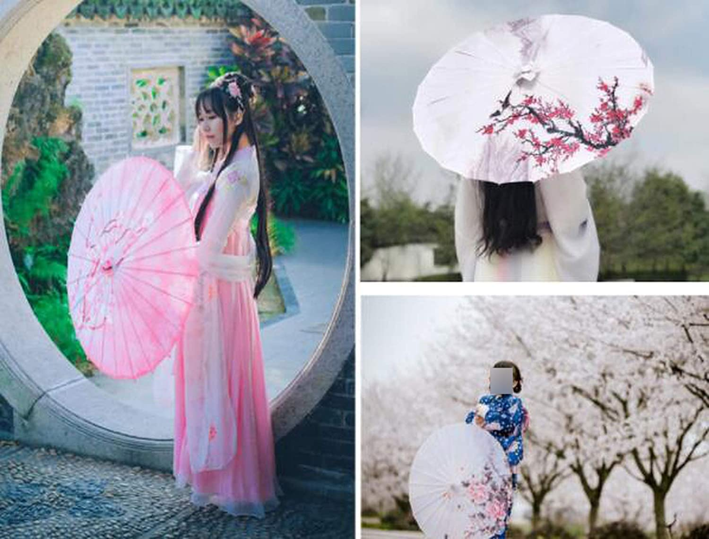 Dissee Store Silk Women Umbrella Japanese Cherry Blossoms Silk Ancient Dance Umbrella Decorative Umbrella Chinese Style Oil Paper Umbrella,Bright Red