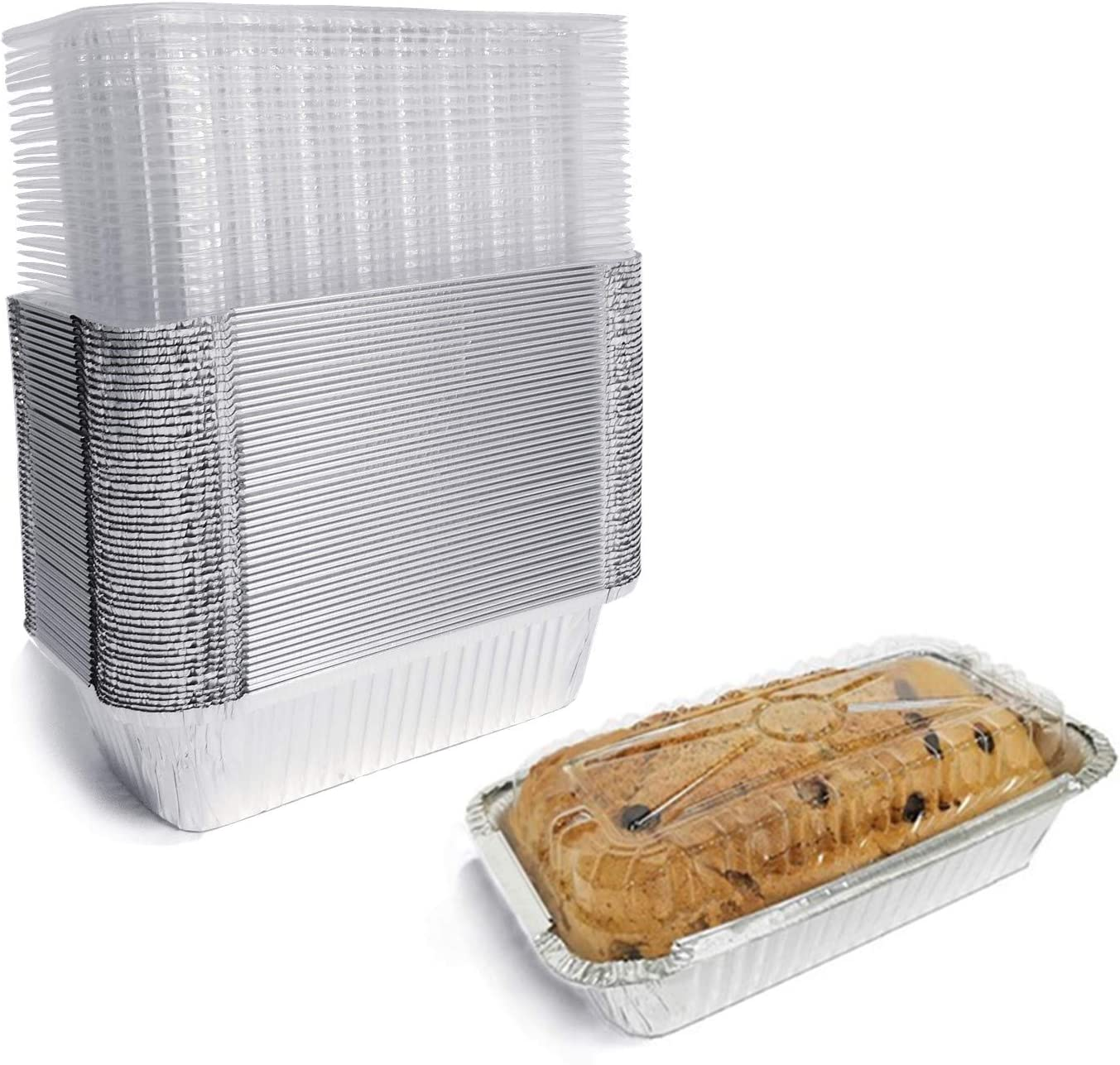 Aluminum Bread Pans Disposable | 8x4 Loaf Pans with Lids | 50 Pack | Dessert Boxes - Perfect for Baking, Storing, Takeout