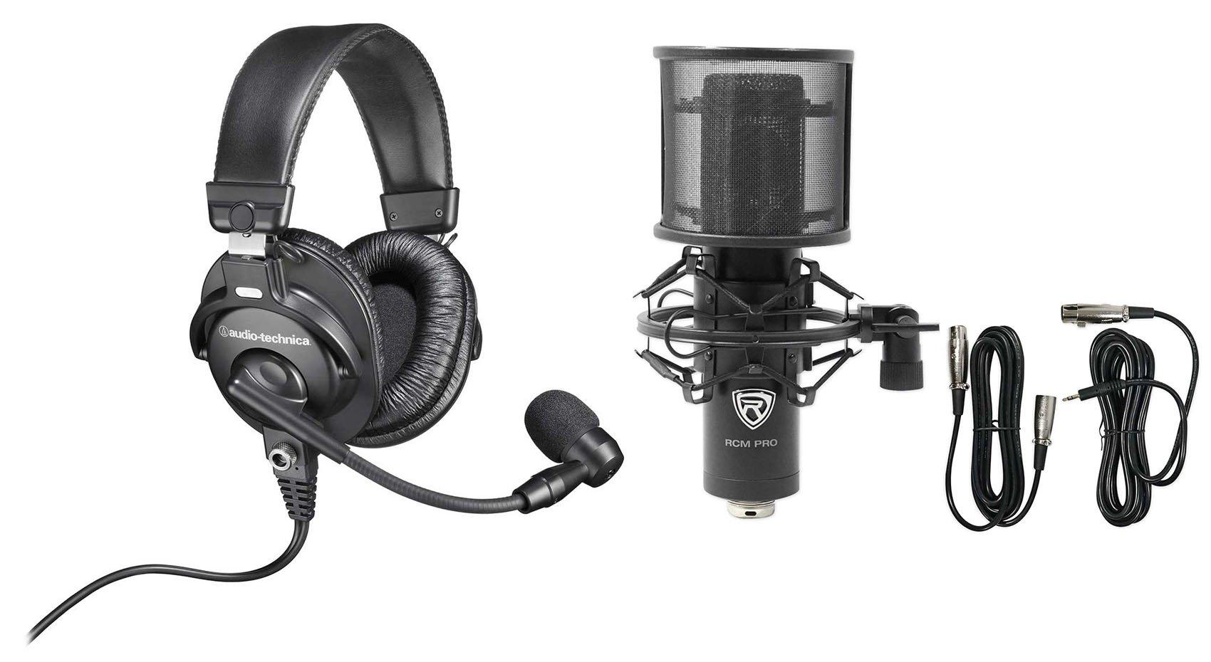 Audio Technica BPHS1 Over-Ear Broadcast Headphones Headset w/boom+Studio Mic