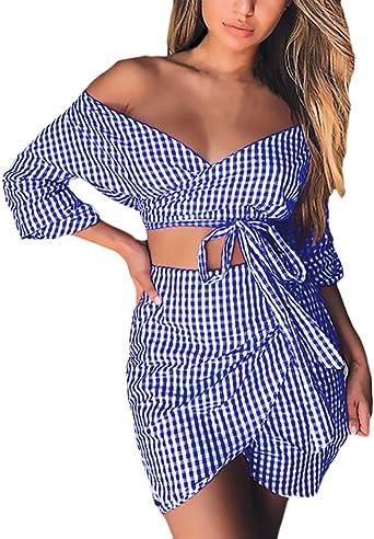 Mujer Conjuntos De Faldas Y Crop Top 2 Piezas Elegantes Moda A ...