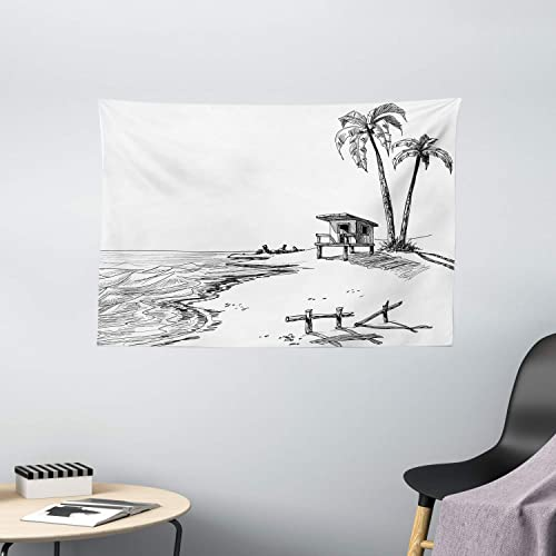 Ambesonne Sketchy Tapestry, Sketch of Summer Beach with Palm Trees and Lifeguard Stand Seascape Concept, Wide Wall Hanging for Bedroom Living Room Dorm, 60 X 40 , White Black