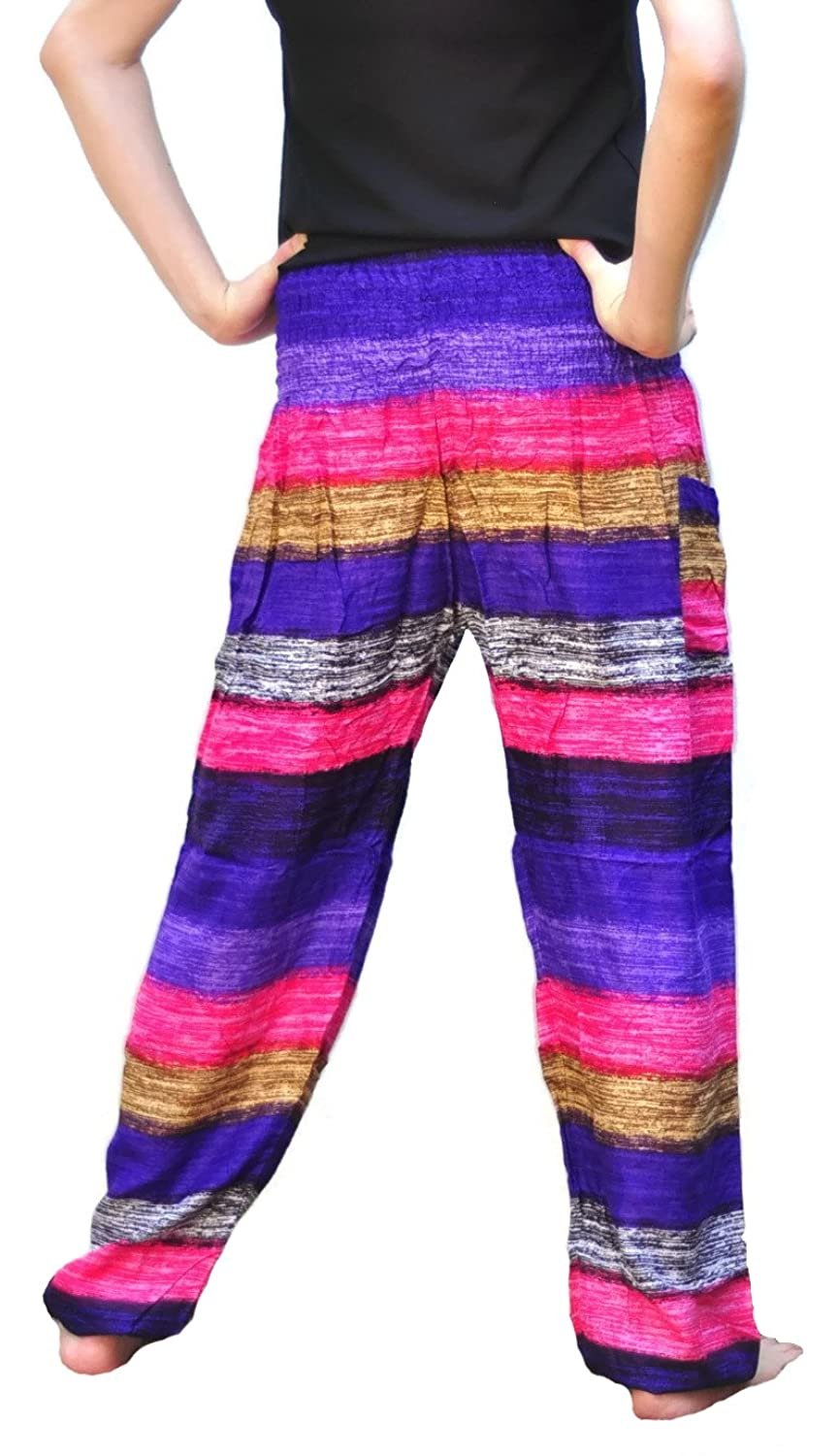 Siam Trendy Women's Thai Rayon Pants One Size Pink Violet