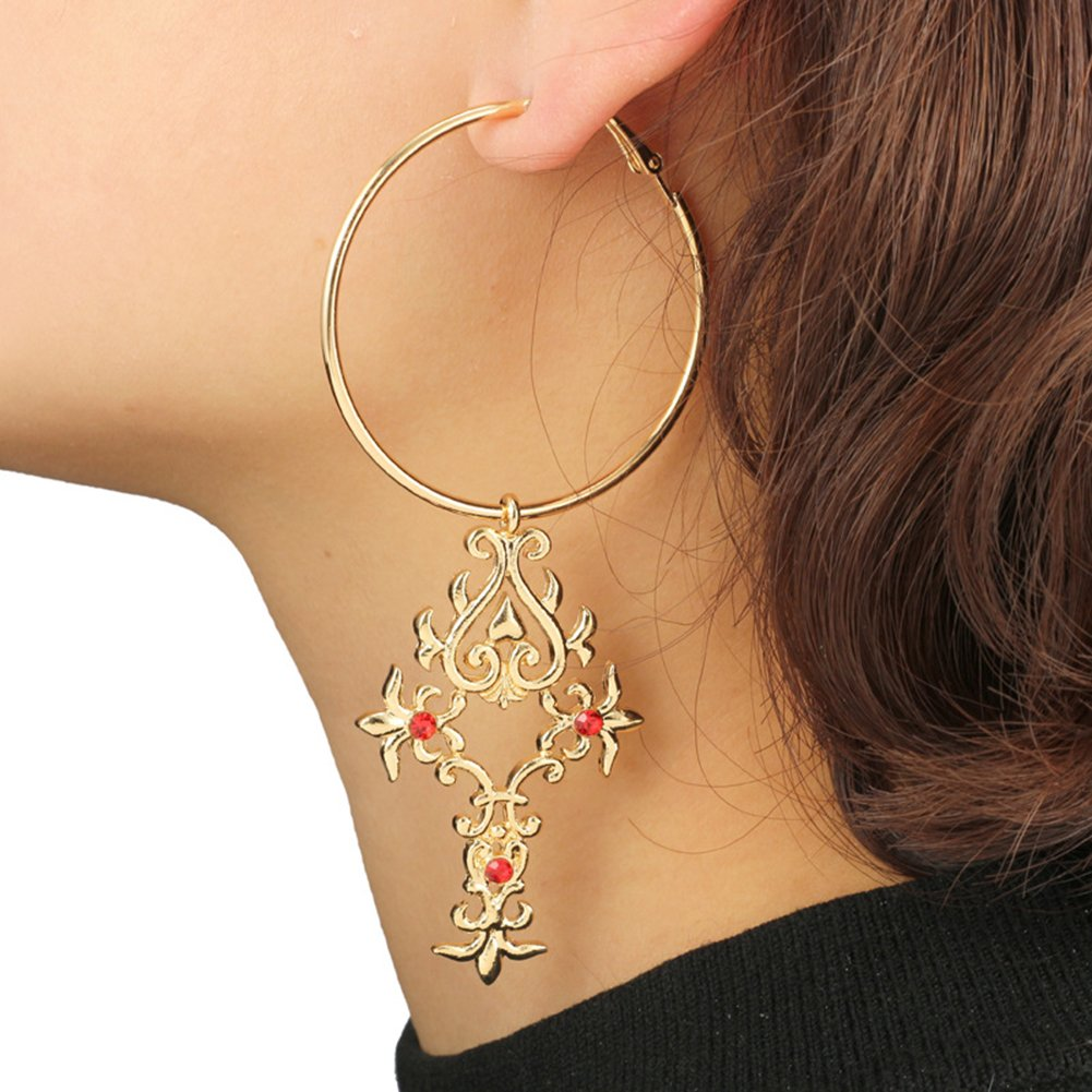 ink2055 Punk Style Big Hoop Dangle Earrings for Women Girl with Long Cross Pendant Ear Ring Jewelry Accessory Gift