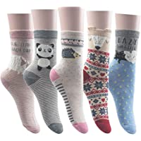 5 Pairs Women Cute Animal Socks Colorful Funny Casual Cotton Novelty Socks