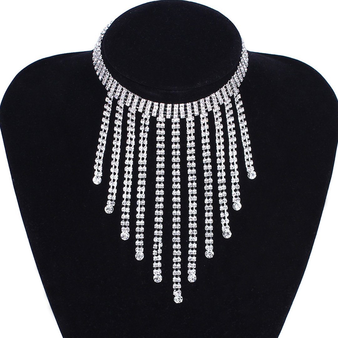 Naimo Womens Sparkly Rhinestone Crystal Choker Necklace Sexy Chain Tassel Choker Necklace (Silver)