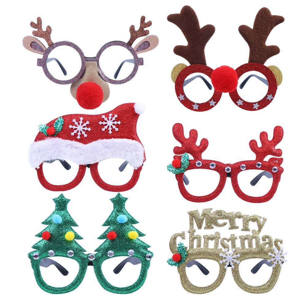 CCINEE 6pcs Merry Christmas Glasses Frames Costume Eyeglasses without Lenses for Kids Christmas Party Favor Supplies