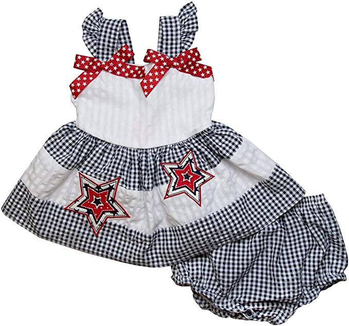 Good Lad Newborn//Infant Girls Seersucker Navy Smocked Sundress with Crab Appliques and Matching Panty