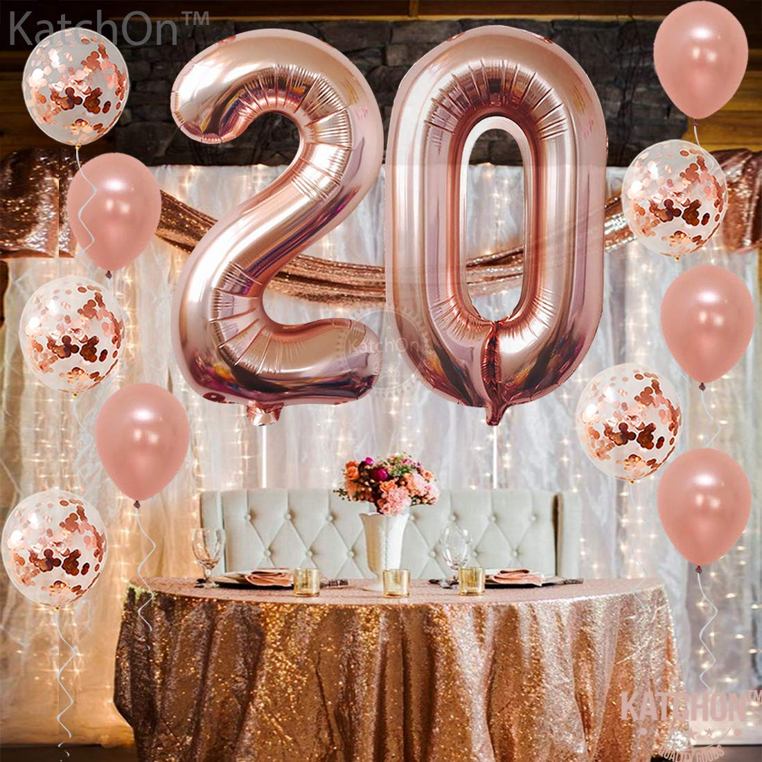40 Inch Great 20th Birthday Party Decorations| 20 Year Old Rose Gold Party Supplies KatchOn 2 and 0 Mylar Rose Gold Balloons Large Rose Gold 20 Number Balloons Extra Pack of 10 Latex Baloons 12 Inch