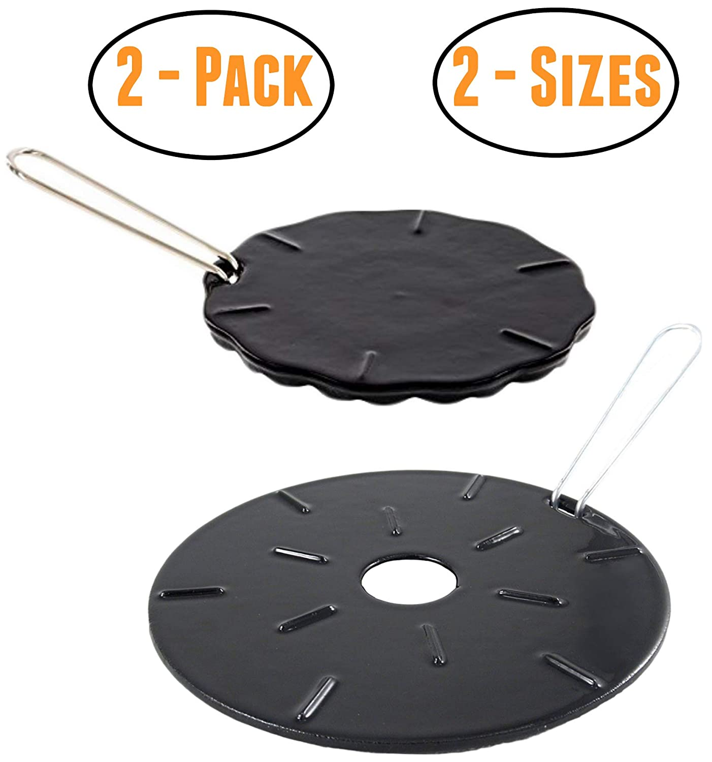 "Cast Iron Heat Diffuser Plate - Flame Reducer – 2 Pack – 2 Sizes Included – 8.25"" and 6.75"" Heat Diffuser Plates - Flame Guard - Simmer Ring - Heat Tamer"