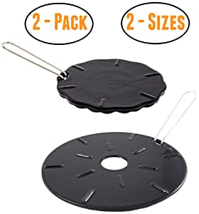 """Cast Iron Heat Diffuser Plate - Flame Reducer – 2 Pack – 2 Sizes Included – 8.25"""" and 6.75"""" Heat Diffuser Plates - Flame Guard - Simmer Ring - Heat Tamer"""