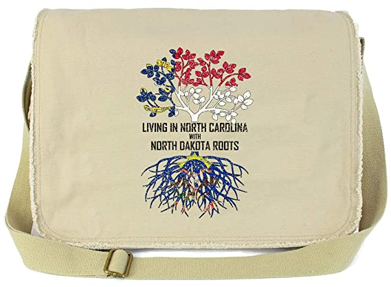 Tenacitee Living In South Carolina with South Dakota Roots Grey Brushed Canvas Messenger Bag