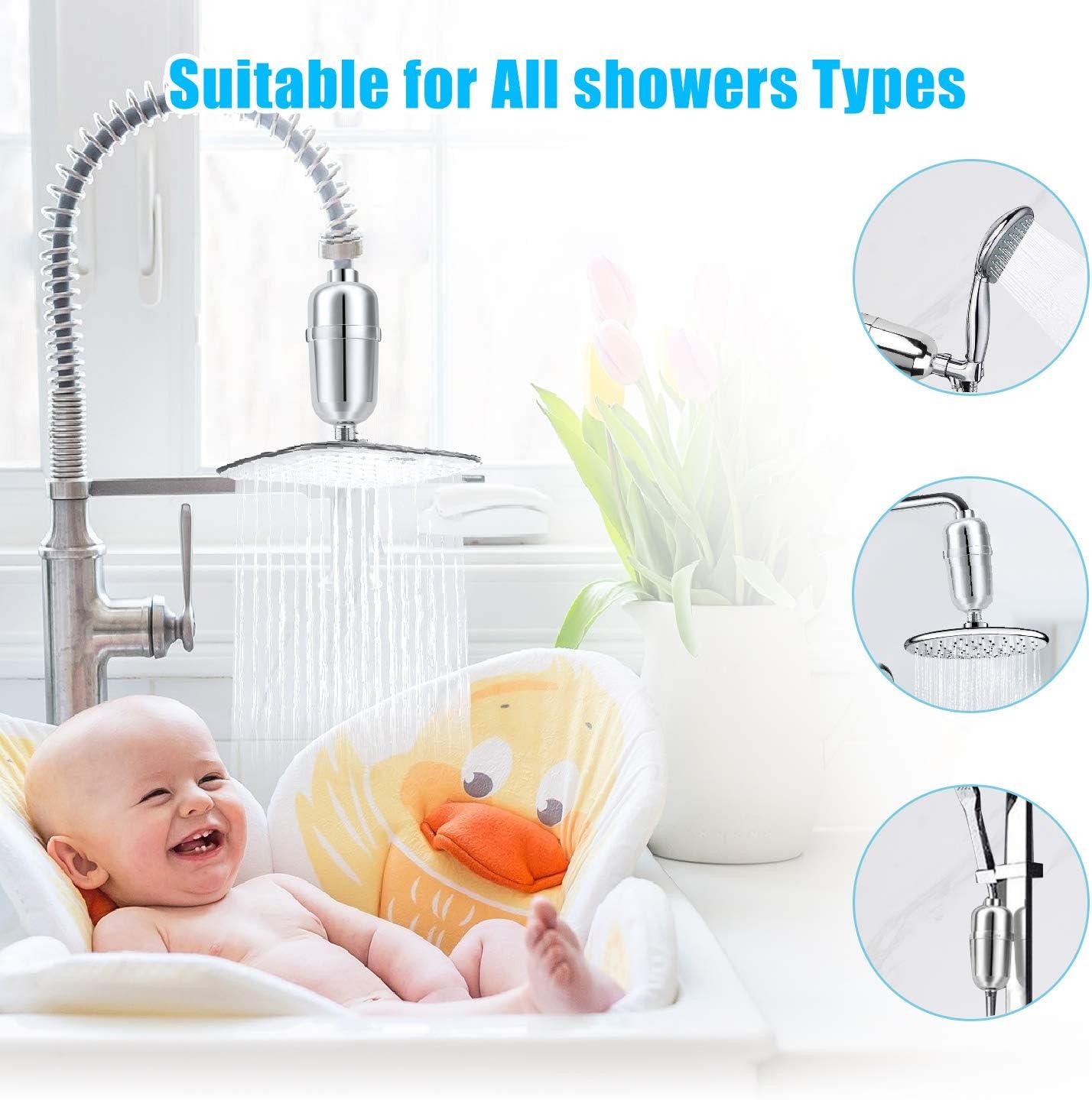 Filtro de ducha con filtro de cabezal de ducha de 16 etapas para agua dura con cartuchos de filtro reemplazables,filtro de cabezal de ducha para eliminar el cloro y el fl/úor 1 pieza