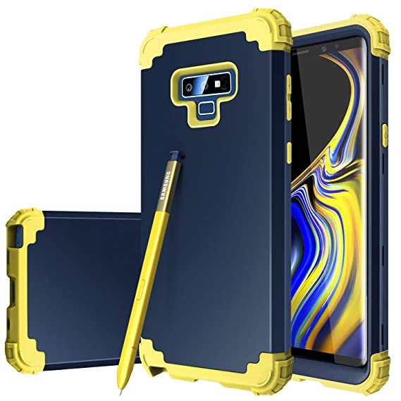 Fingic Phone Case for Note 9,Note 9 Case for Men,Heavy Duty Rugged Armor Case Cover for Men Full Body Protective Phone Case for Note 9,Blue/Yellow