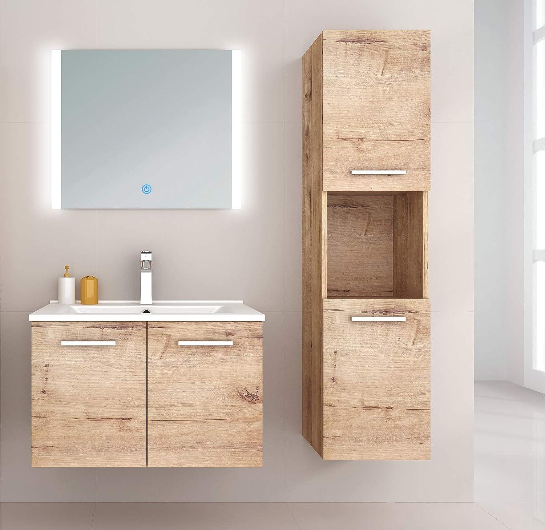 Home Deluxe Norderoog Waschbecken und komplettem Zubeh/ör Badm/öbel-Set Holz 71 cm Holz Breite Waschbecken: ca inkl