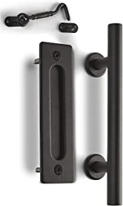 """MJC & Company - 12"""" Round Sliding Barn Door Handle Pull Kit with Flush Mount Plate & Cabin Hook Lock - Heavy-Duty Modern Matte Black Hardware Set - Strong Industrial Pull & Privacy Latch"""