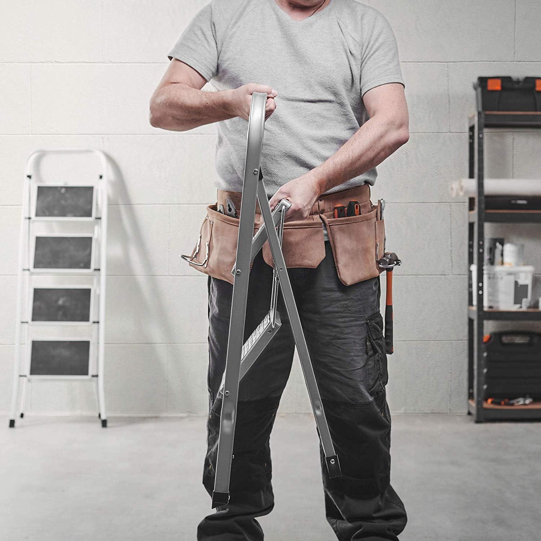 Escalera de acero con 2 peldaños – Patas antideslizantes – Diseño plegable fácil de guardar – Idea: Amazon.es: Bricolaje y herramientas
