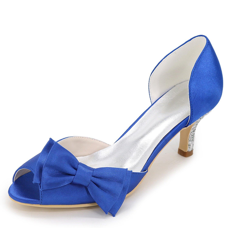 Elobaby Zapatos De Boda De Mujer Kitten Heel Hecho A Mano Satinado Peep Toe Plataforma Nupcial/6cm TalóN 35 EU|Blue