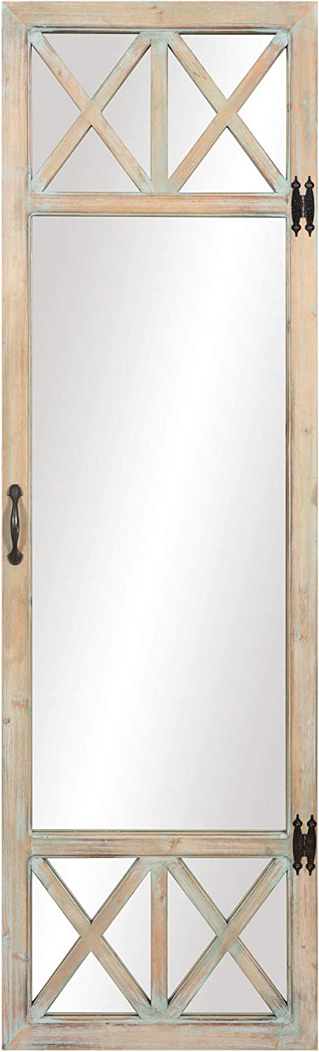 Patton Wall Decor 19x60 White Wash Distressed Wood French Door Full Length Wall Mounted Mirrors, Natural