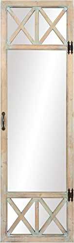 Patton Wall Decor 19×60 White Wash Distressed Wood French Door Full Length Wall Mounted Mirrors, Natural