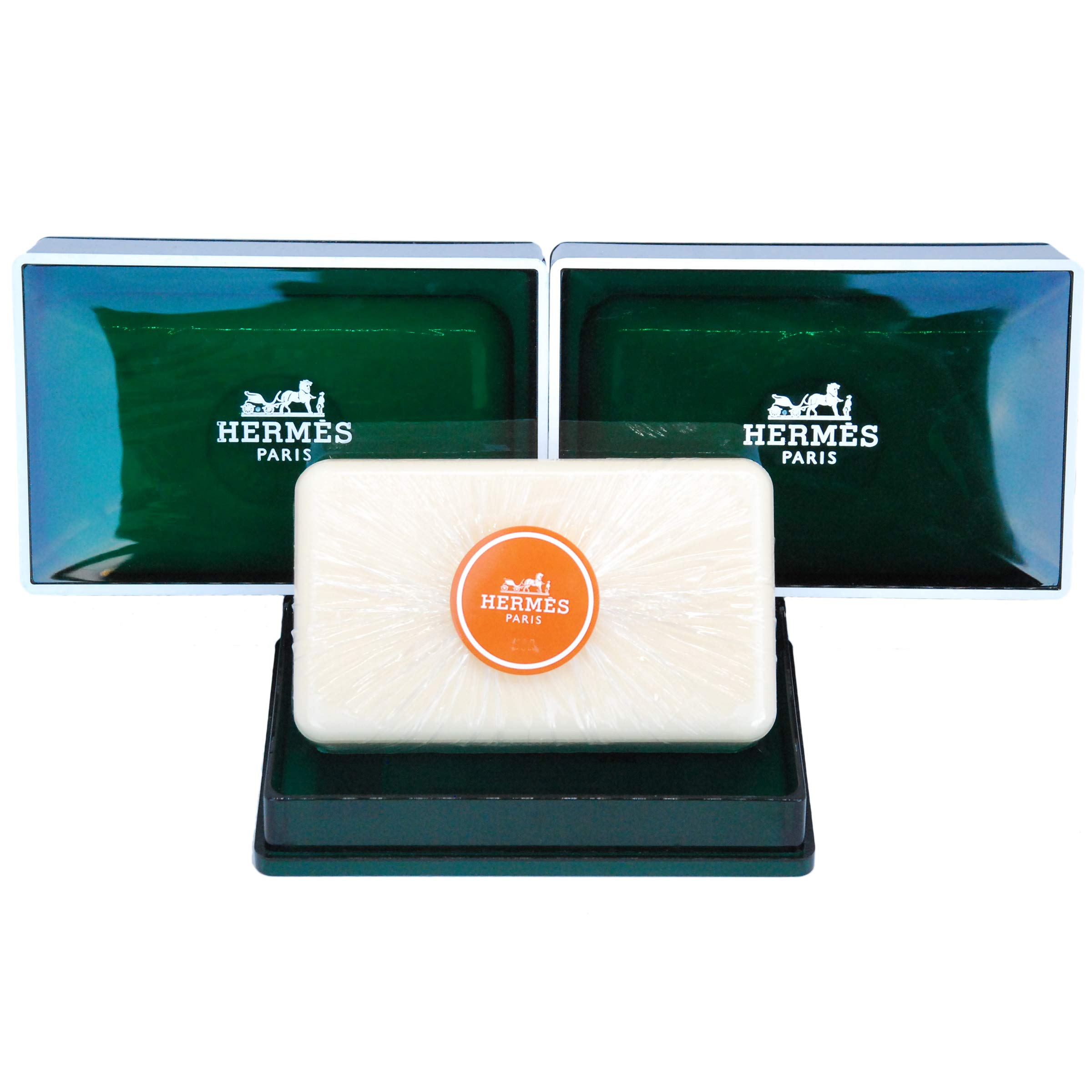 Hermès Jumbo Soaps - Eau d'Orange Verte Luxury Perfumed Gift Soaps Imported From Hermès Paris - Citrus and Mint Fragrance - 5.2 Ounces / 150 Grams - 2 Gift Boxed Perfumed Soaps / Savons Parfume in Bubble Bag - Total 10.4 Ounces / 300 Grams (Pack of 2)