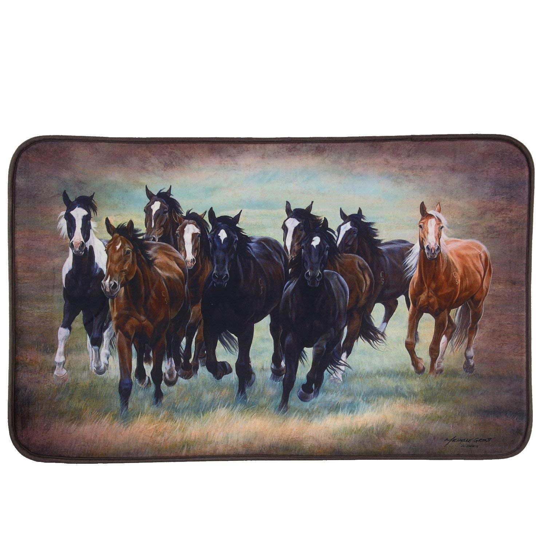 BestGiftEver Rustic Running Galloping Horses Memory Foam Bath Mat