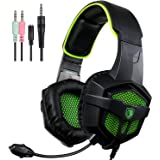 SADES SA-807 Gaming Headset 3.5mm 4-pin Plug Wired Over-ear Headphones For Multi-Platform New Xbox one/ PS4/PC /Laptop /Mac /iPad /Smartphones Stereo with Mic Volume-Control Black Green