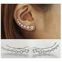 40994f770 Elensan 7 Crystals Ear Cuffs Hoop Climber S925 Sterling Silver Earrings  Hypoallergenic Earring
