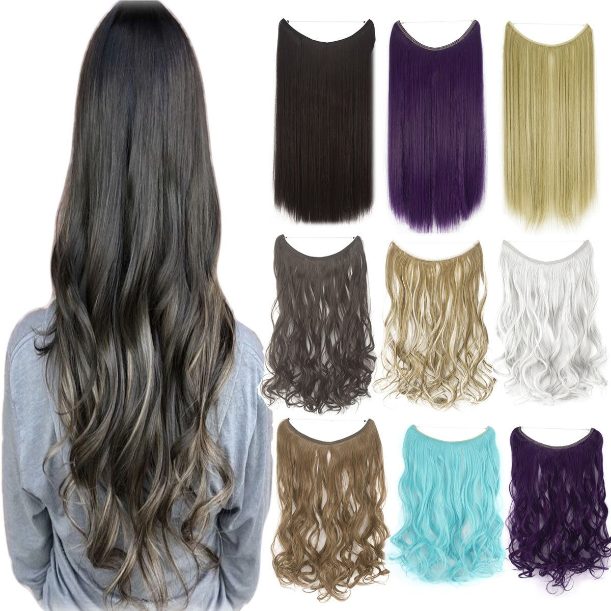 Invisible Wire No Clips in Synthetic Hair Extensions Secret Fish ...