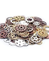 100 Gram Assorted Antique Steampunk Gears Charms Pendant Clock Watch Wheel Gear for Crafting, DIY Jewelry (Mixed Color)