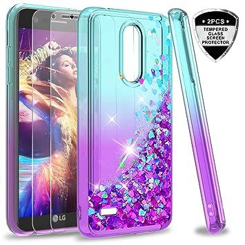 LeYi Funda LG K11 / K11 Plus / K10 2018 Silicona Purpurina Carcasa con [2-Unidades Cristal Vidrio Templado],Transparente Cristal Bumper Fundas Case ...